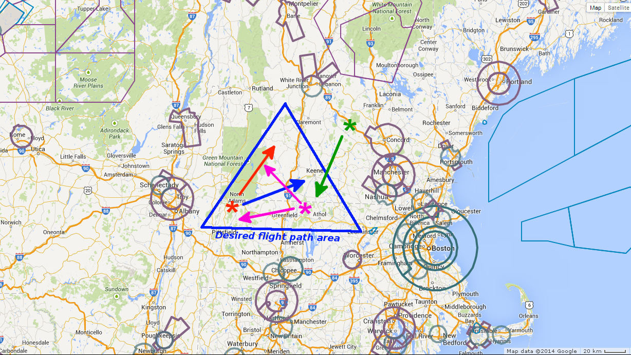 Airspace map for balloon launch