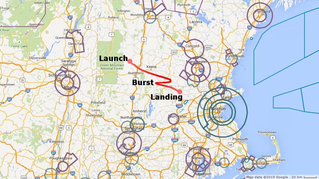 High Altitude Balloon - Predicted flight path